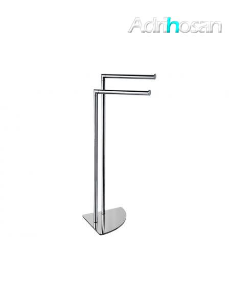 Toallero de pie dos barras acero inox cromado - Accesorio de baño