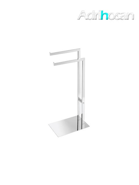Toallero de pie dos barras acero inox pulido - Accesorio de baño