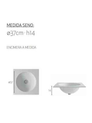 Encimera de Solid Surface Pisa para instalación sobremueble, tacto extra suave, antibacterias y líneas muy puras y gráciles. Posibilidad a la carta.