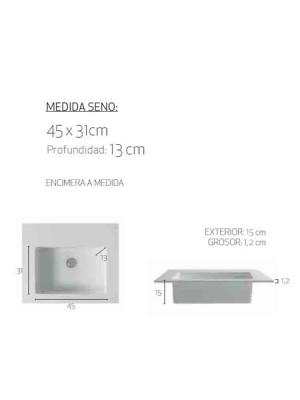 Encimera de Solid Surface Tabac para instalación sobremueble, tacto extra suave, antibacterias y líneas muy puras y gráciles. Posibilidad a la carta.