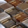 Malla de acero inox y cristal Helsinki Cobre 30x30 cm. Malla de cristal y acero inoxidable para realizar decoraciones espectaculares en baños o cocinas.