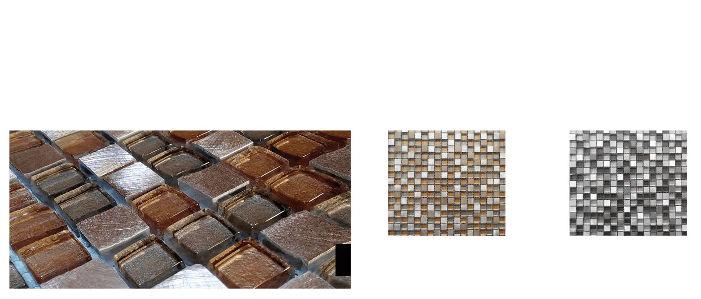 Malla de acero inox y cristal Helsinki 30x30 cm. Malla de cristal y acero inoxidable para realizar decoraciones espectaculares en baños o cocinas.