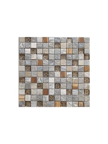 Malla de cristal, madera y pizarra Bamboo crema 30x30 cm. Canto rodado aplanado de piedra natural ideal para decoraciones de platos de ducha y exteriores.