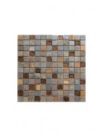 Malla de cristal, madera y pizarra Bamboo multicolor 30x30 cm. Canto rodado aplanado de piedra natural ideal para decoraciones de platos de ducha y exteriores.