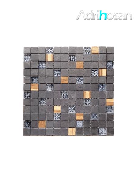 Malla de cristal, madera y pizarra Bamboo negro 30x30 cm (venta por mallas)