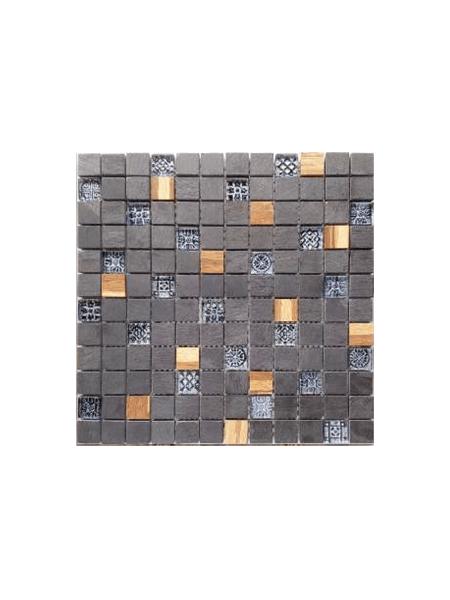 Malla de cristal, madera y pizarra Bamboo negro 30x30 cm. Canto rodado aplanado de piedra natural ideal para decoraciones de platos de ducha y exteriores.