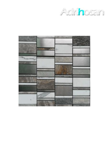 Malla de cristal, metal y mármol  Etrusco gris 30x30 cm (venta por mallas)