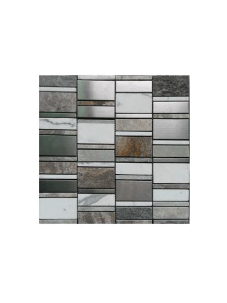 Malla de cristal, metal y mármol Etrusco gris 30x30 cm. Malla de cristal mezclada con metal y mármol para realizar decoraciones espectaculares en cocinas.