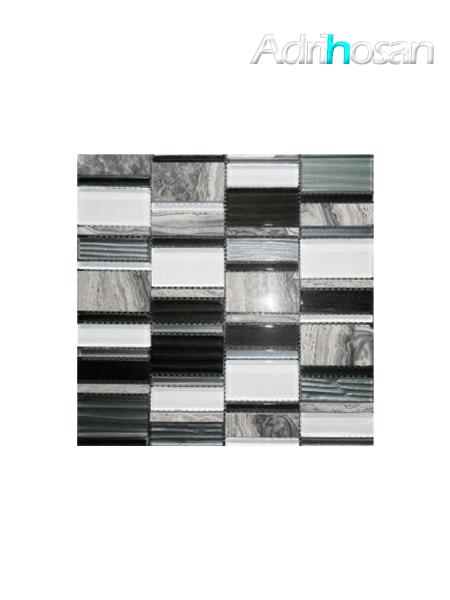 Malla de cristal, metal y mármol  Etrusco negro 30x30 cm (venta por mallas)