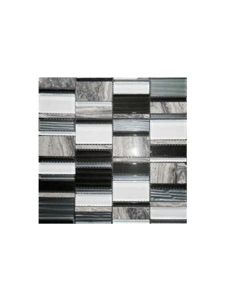 Malla de cristal, metal y mármol Etrusco negro 30x30 cm. Malla de cristal mezclada con metal y mármol para realizar decoraciones espectaculares en cocinas.
