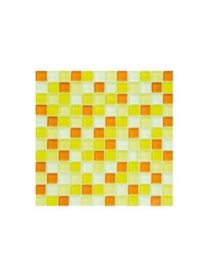 Malla de cristal Murano amarillo 30x30 cm. Malla de cristal de vivos colores para realizar decoraciones espectaculares en baños o cocinas.