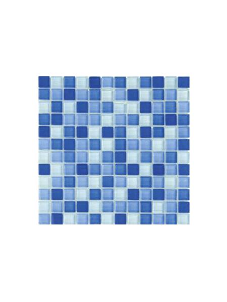 Malla de cristal Murano azul 30x30 cm. Malla de cristal de vivos colores para realizar decoraciones espectaculares en baños o cocinas.