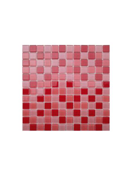 Malla de cristal Murano rojo 30x30 cm. Malla de cristal de vivos colores para realizar decoraciones espectaculares en baños o cocinas.