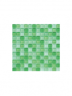 Malla de cristal Murano verde 30x30 cm. Malla de cristal de vivos colores para realizar decoraciones espectaculares en baños o cocinas.