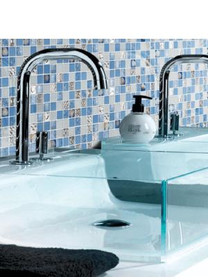 Malla de cristal Ocean 30x30 cm. Malla de cristal de vivos colores con insertos preciosos para realizar decoraciones en baños o cocinas.