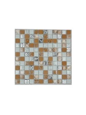 Malla de cristal Ocean beige 30x30 cm. Malla de cristal de vivos colores con insertos preciosos para realizar decoraciones en baños o cocinas.