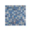 Malla de cristal Ocean celeste 30x30 cm. Malla de cristal de vivos colores con insertos preciosos para realizar decoraciones en baños o cocinas.