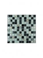Malla de cristal Ocean gris 30x30 cm. Malla de cristal de vivos colores con insertos preciosos para realizar decoraciones en baños o cocinas.