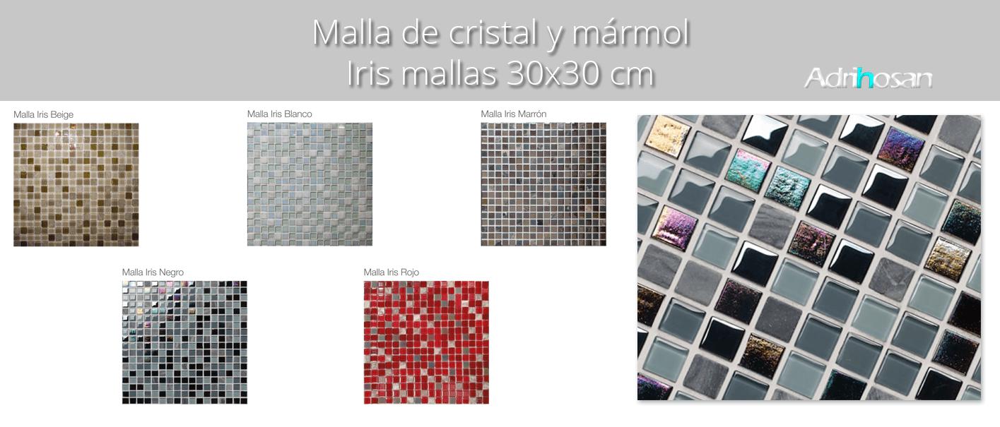Malla de mármol y cristal Iris 30x30 cm. Malla de cristal y mármol natural para realizar decoraciones espectaculares en baños o cocinas.
