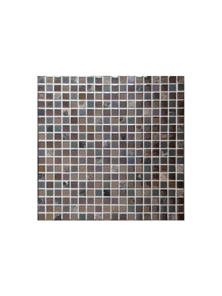 Malla de mármol y cristal Iris marrón 30x30 cm. Malla de cristal y mármol natural para realizar decoraciones espectaculares en baños o cocinas.
