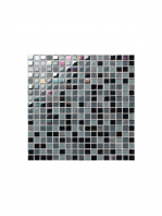 Malla de mármol y cristal Iris negro 30x30 cm. Malla de cristal y mármol natural para realizar decoraciones espectaculares en baños o cocinas.