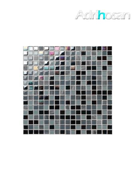 Malla de mármol y cristal Iris negro 30x30 cm (venta por mallas)