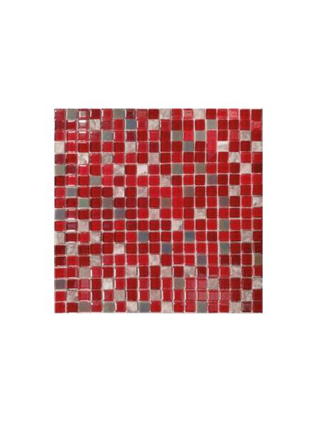 Malla de mármol y cristal Iris rojo 30x30 cm. Malla de cristal y mármol natural para realizar decoraciones espectaculares en baños o cocinas.