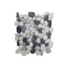 Malla de piedra canto rodado Riviera gris 30x30 cm. Canto rodado aplanado de piedra natural ideal para decoraciones de platos de ducha y exteriores.
