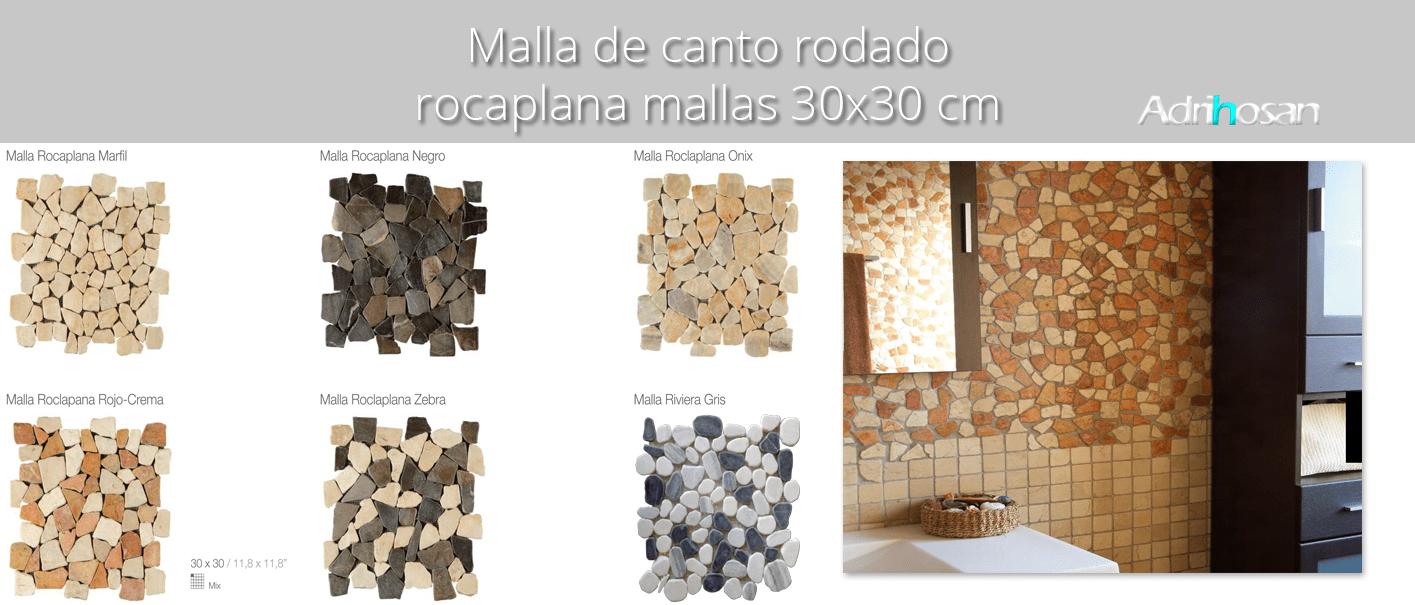 Malla de piedra canto rodado Rocaplana 30x30 cm. Canto rodado aplanado de piedra natural ideal para decoraciones de platos de ducha y exteriores.