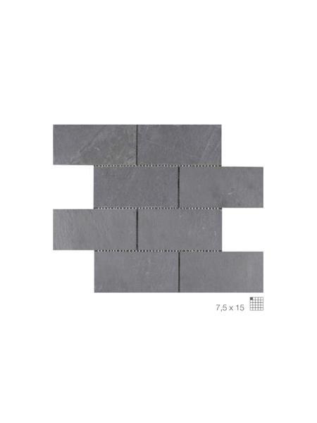 Malla de pizarra Agra negro 30x30 cm. Malla de piedra natural ideal para decoraciones de platos de ducha y exteriores, mezclada con cristal.