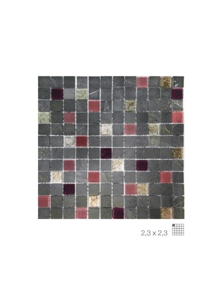 Malla de pizarra y cristal congo lila 30x30 cm. Malla de piedra natural ideal para decoraciones de platos de ducha y exteriores, mezclada con cristal.