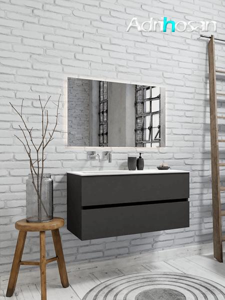 Mueble de baño 100 cm Antracita con 2 cajones, lavabo de Solid surface seno izquierdo con 0 orificio(s) para el grifo.