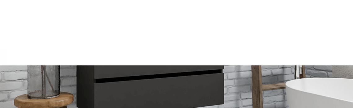 Mueble de baño suspendido Vica 100 Antracita 2 cajones en acabado Antracita. Un mueble de baño de seno izquierda de apertura suave por uñero con encimera para grifo empotrado.