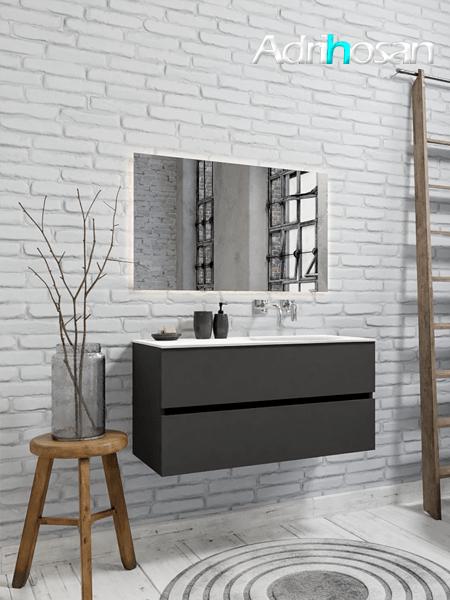 Mueble de baño 100 cm Antracita con 2 cajones, lavabo de Solid surface seno derecho con 0 orificio(s) para el grifo.