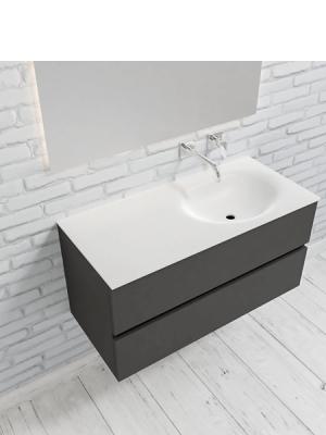 Mueble de baño suspendido Vica 100 Antracita 2 cajones en acabado Antracita. Un mueble de baño de seno derecha de apertura suave por uñero con encimera para grifo empotrado.
