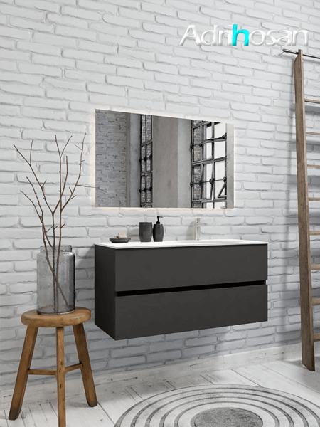 Mueble de baño 100 cm Antracita con 2 cajones, lavabo de Solid surface seno derecho con 1 orificio(s) para el grifo.