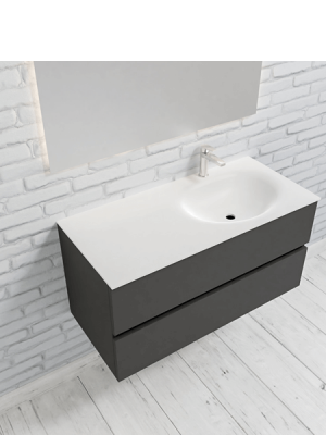 Mueble de baño suspendido Vica 100 Antracita 2 cajones seno derecha. Un mueble de baño de apertura suave por uñero,encimera para grifo sobre encimera.