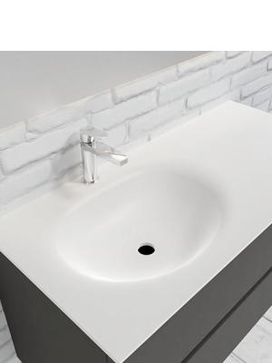 Mueble de baño suspendido Vica 100 Antracita 2 cajones seno izquierda. Un mueble de baño de apertura suave por uñero,encimera para grifo sobre encimera.