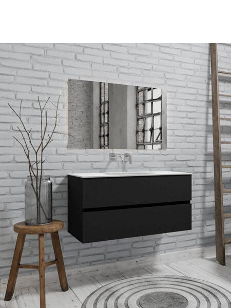 Mueble de baño 100 cm Vica negro mate con 2 cajones, lavabo de Solid surface seno centrado con 0 orificio(s) para el grifo.