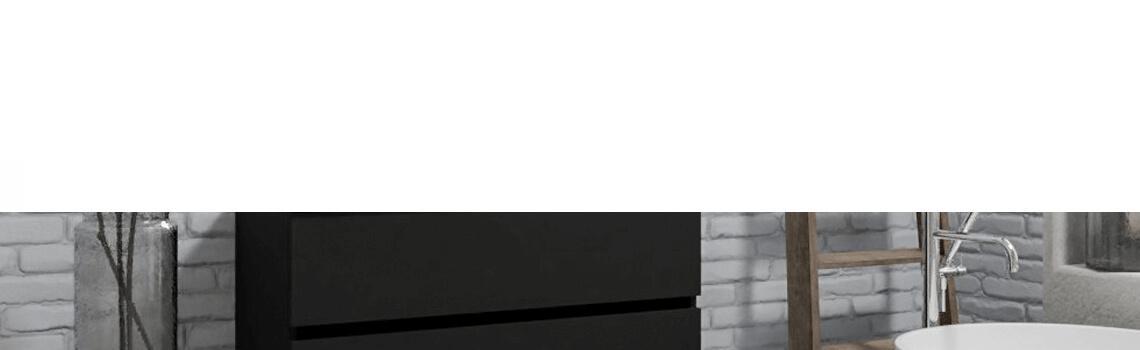 Mueble de baño suspendido Vica 100 negro 2 cajones en acabado negro mate. Un mueble de baño de seno centrado de apertura suave por uñero con encimera para grifo empotrado.