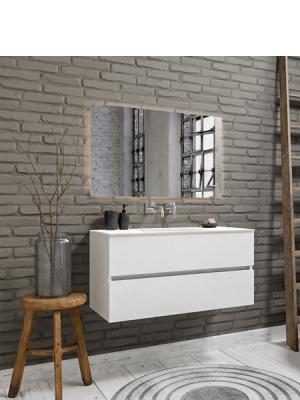 Mueble de baño suspendido Vica 100 white 2 cajones en acabado blanco mate. Un mueble de baño de seno centrado de apertura suave por uñero con encimera para grifo empotrado.