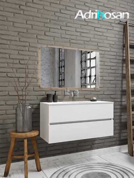 Mueble de baño 100 cm Blanco mate con 2 cajones, lavabo de Solid surface seno centrado con 0 orificio(s) para el grifo.