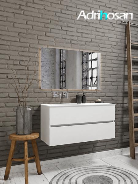 Mueble de baño 100 cm Blanco mate con 2 cajones, lavabo de Solid surface seno izquierdo con 0 orificio(s) para el grifo.