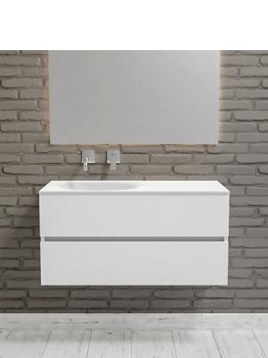 Mueble de baño suspendido Vica 100 white 2 cajones en acabado blanco mate. Un mueble de baño de apertura suave seno izquierda encimera para grifo empotrado.