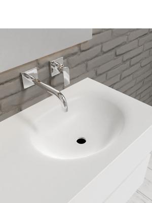 Mueble de baño suspendido Vica 100 white 2 cajones en acabado blanco mate. Un mueble de baño de apertura suave seno derecha encimera para grifo empotrado.