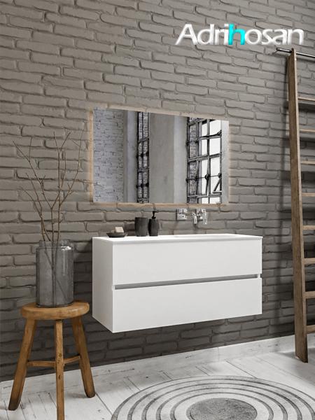 Mueble de baño 100 cm Blanco mate con 2 cajones, lavabo de Solid surface seno derecho con 0 orificio(s) para el grifo.
