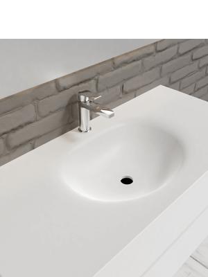 Mueble de baño suspendido Vica 100 white 2 cajones en acabado blanco mate. Un mueble de baño de apertura suave por uñero,encimera para grifo sobre encimera.