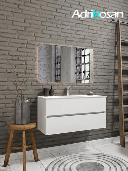 Mueble de baño 100 cm Blanco mate con 2 cajones, lavabo de Solid surface seno centrado con 1 orificio(s) para el grifo.