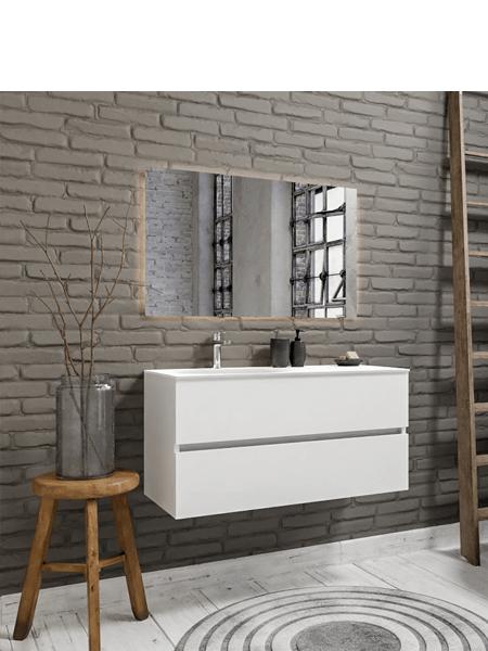 Mueble de baño suspendido Vica 100 white 2 cajones en acabado blanco mate. Un mueble de baño de apertura suave seno izquierda encimera para grifo sobre encimera.