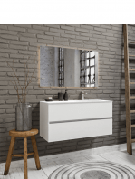 Mueble de baño suspendido Vica 100 white 2 cajones en acabado blanco mate. Un mueble de baño de apertura suave seno derecha encimera grifo sobre encimera.